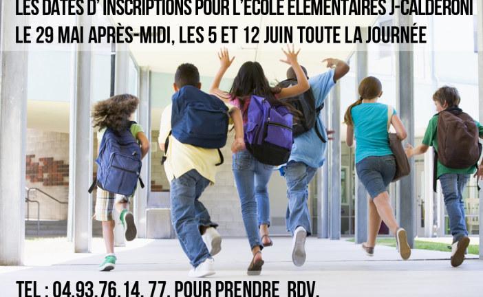 Dates d'inscriptions pour l'école élémentaires J Caldéroni 2015