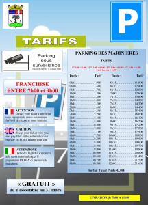 Affichage Tarifs MARINIERES 2015