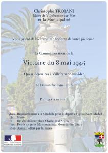 Invitation cérémonie 8 mai 1945