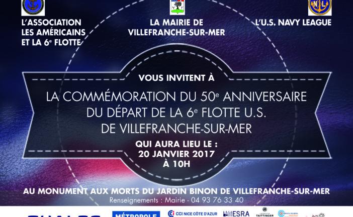 COMMÉMORATION DU 50e ANNIVERSAIRE DU DÉPART DE LA 6e FLOTTE U.S. DE VILLEFRANCHE-SUR-MER