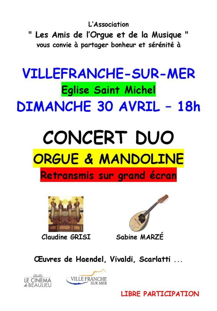 L'association des amis de l'Orgue et de la Musique - concert orgue et mandoline -