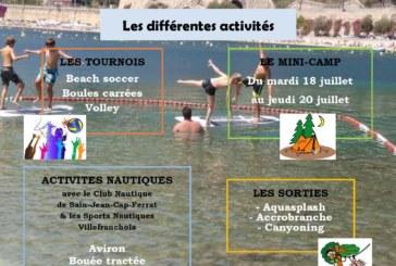 Programme plage des jeunes juillet- août 2017