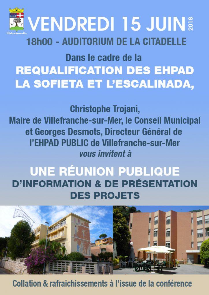 Réunion publique sur la requalification des EPHAD La Sofieta et l'Escalinada @ Auditorium - Citadelle | Villefranche-sur-Mer | France