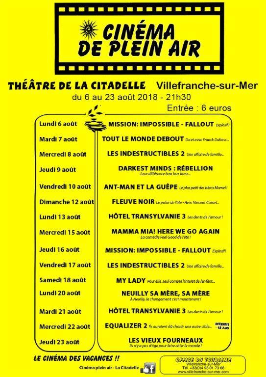 Cinéma de plein air @ Théâtre de Verdure, La Citadelle | Villefranche-sur-Mer | France