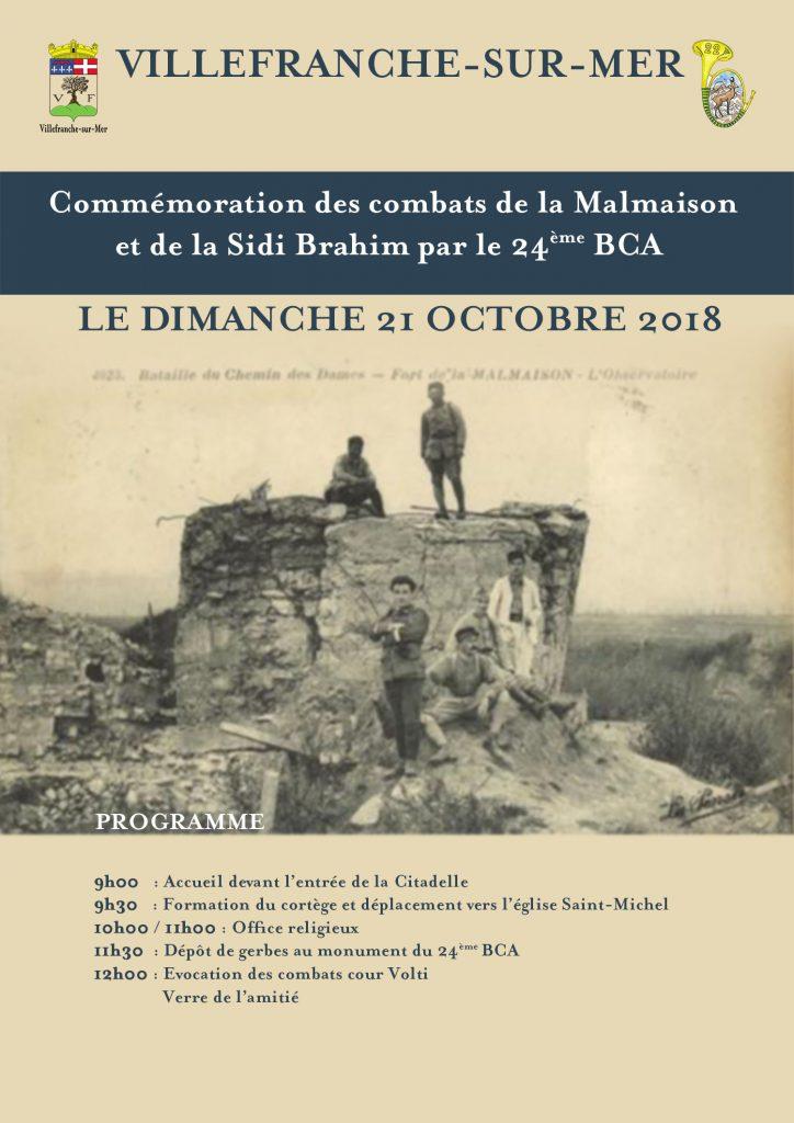 Commémoration des combats de la Malmaison et de Sidi Brahim par le 24ème BCA à Villefranche-sur-Mer