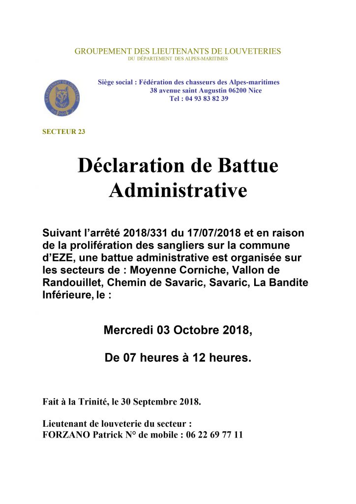 Battue Administrative - Mercredi 3 Octobre 2018