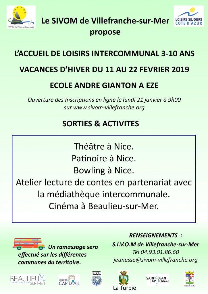 Centre de loisirs jeunes intercommunal 3-10 ans - Vacances du 11 au 22 février 2019 @ Espace jeunes de Beaulieu-sur-Mer