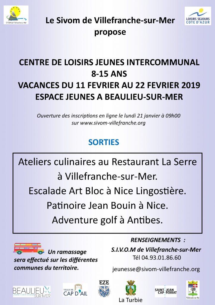 Centre de loisirs jeunes intercommunal 8-15 ans - Vacances du 11 au 22 février 2019 @ Espace jeunes de Beaulieu-sur-Mer