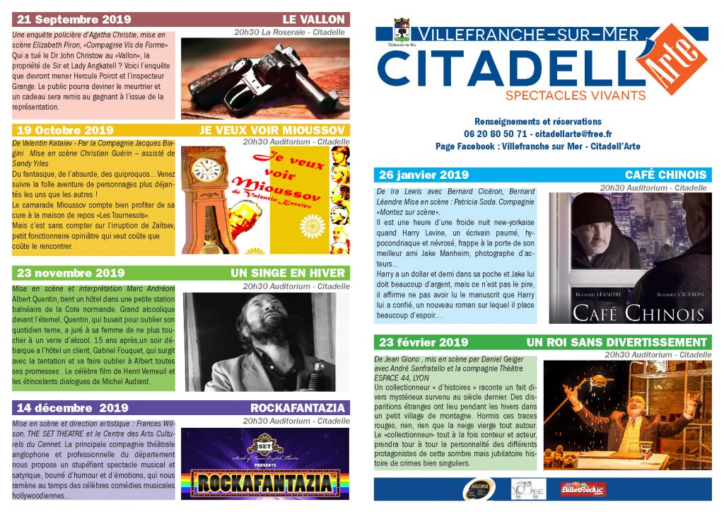 Programmation Citadell'Arte 2019 @ Auditorium - Citadelle