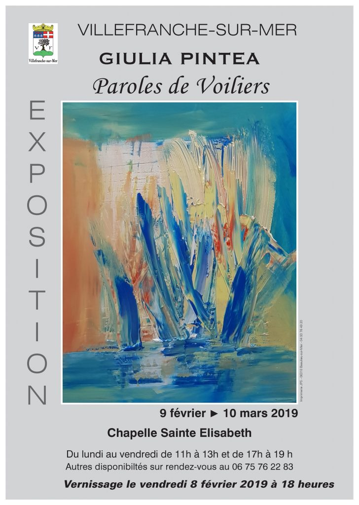 Vernissage de l'exposition Giulia Pintea - Paroles de Voiliers @ Chapelle Sainte Elisabeth