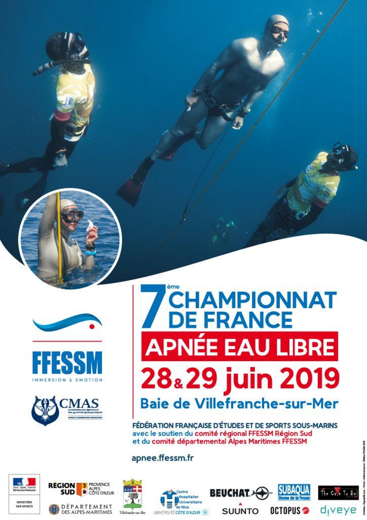 7 ème Championnat de France d'Apnée en Eau libre - 28 et 29 Juin 2019 @ Rade de Villefranche-sur-Mer