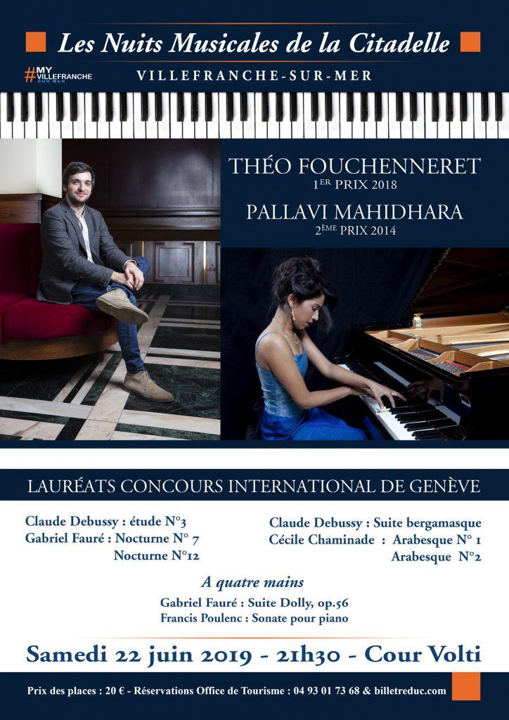 SAVE THE DATE - LES NUITS MUSICALES DE LA CITADELLE édition 2019 ! SAMEDI 22 JUIN à 21h30 – Concert des Lauréats du Concours International de Genève : Théo Fouchenneret & Pallavi Mahidhara
