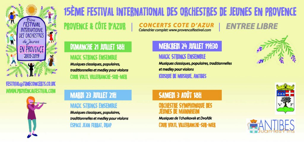 15 ème Festival International des Orchestres de Jeunes en Provence @ Cour Volti