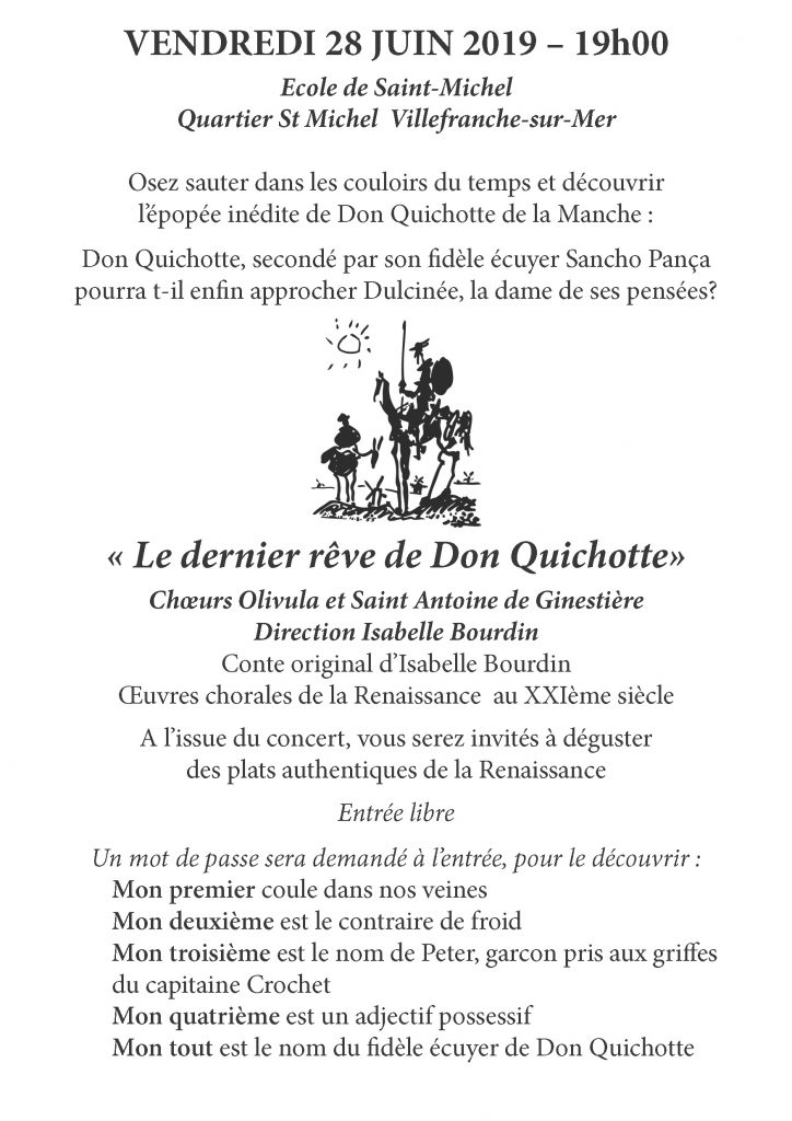 """""""Le dernier rêve de Don Quichotte"""" - Ecole de Saint-Michel - Chœurs Olivula et Saint Antoine de Ginestière sous la direction d'Isabelle Bourdin @ Ecole de Saint-Michel"""