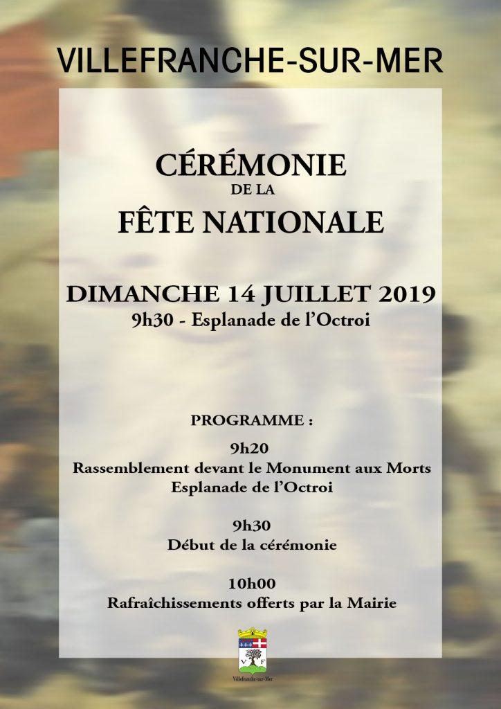 Cérémonie de la Fête Nationale - Dimanche 14 juillet 2019 @ Esplanade de l'octroi