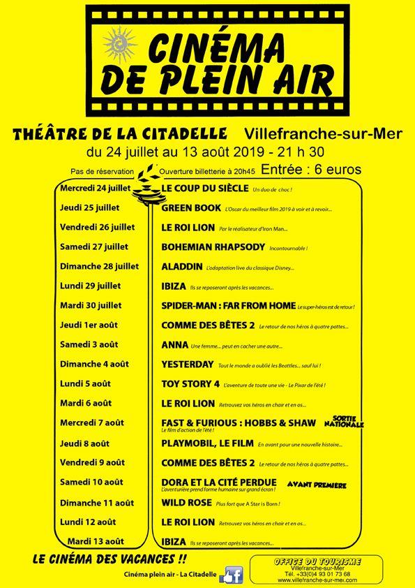 Cinéma de plein air - Programme du 24 juillet a 13 août 2019 @ Théâtre de Verdure de la Citadelle