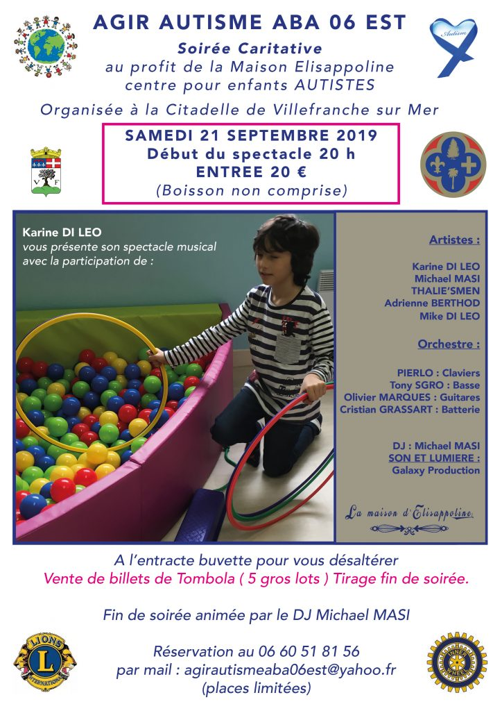 Soirée Caritative au profit de la Maison ELISAPPOLINE - Agir Autisme ABA 06 EST @ Citadelle de Villefranche-sur-Mer