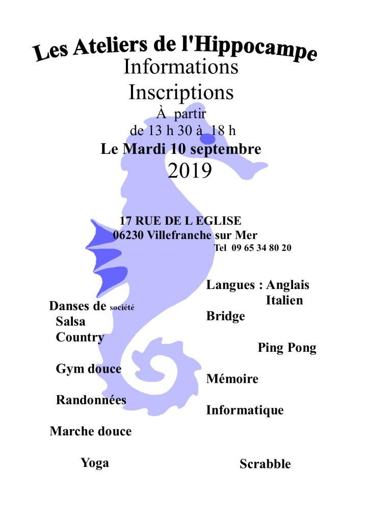 """""""Les Ateliers de l'Hippocampe"""" font leur rentrée le mardi 10 septembre 2019"""