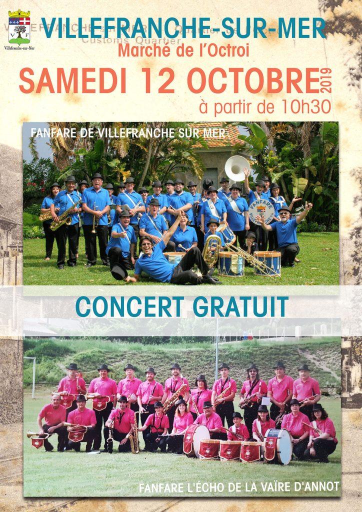 Concert Gratuit - Fanfare de Villefranche-sur-Mer & de la Vaïre d'Annot @ Esplanade de l'octroi