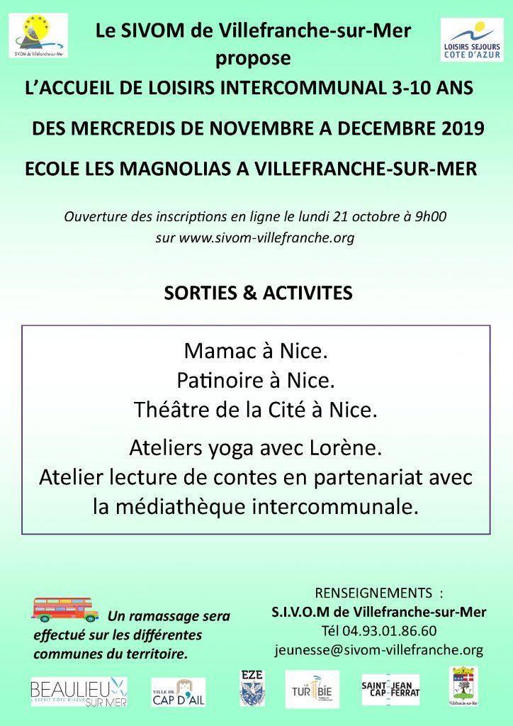Accueil des loisirs intercommunal 3-10 ans - Des mercredis de novembre à décembre 2019