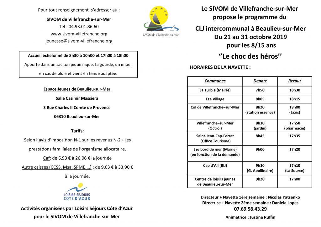 CLJ Intercommunal à Beaulieu-sur-mer - Du 21 au 31 Octobre 2019 pour les 8/15 ans