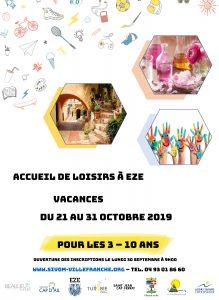 ACCUEIL DE LOISIR A EZE - DU 21 AU 31 Octobre - Pour les 3 à 10 ans