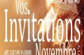 Vos invitations Art, Culture & Loisirs de Novembre 2019