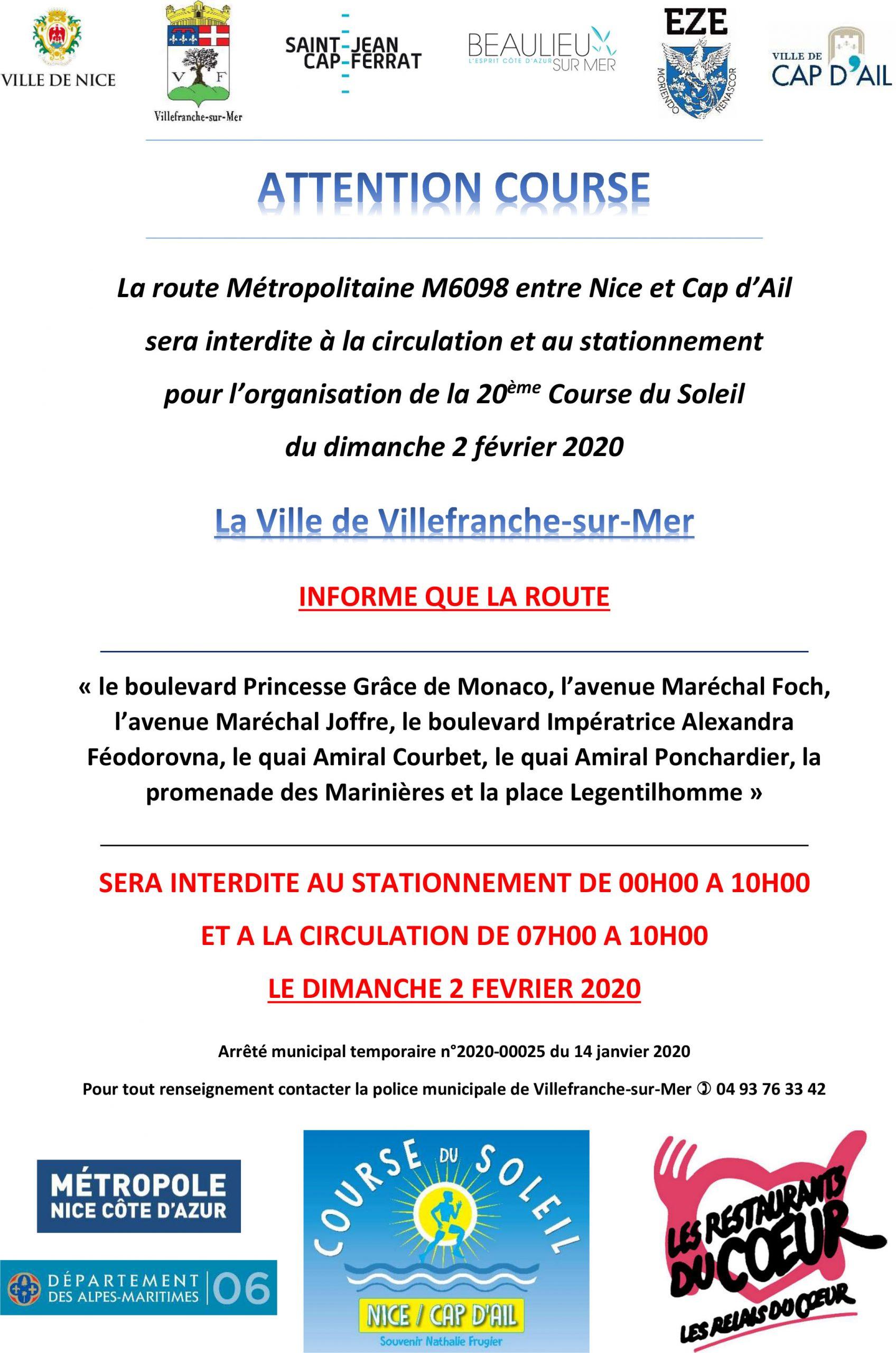 Interdiction de circulation pour la 20ème Course du Soleil - Dimanche 2 février 2020