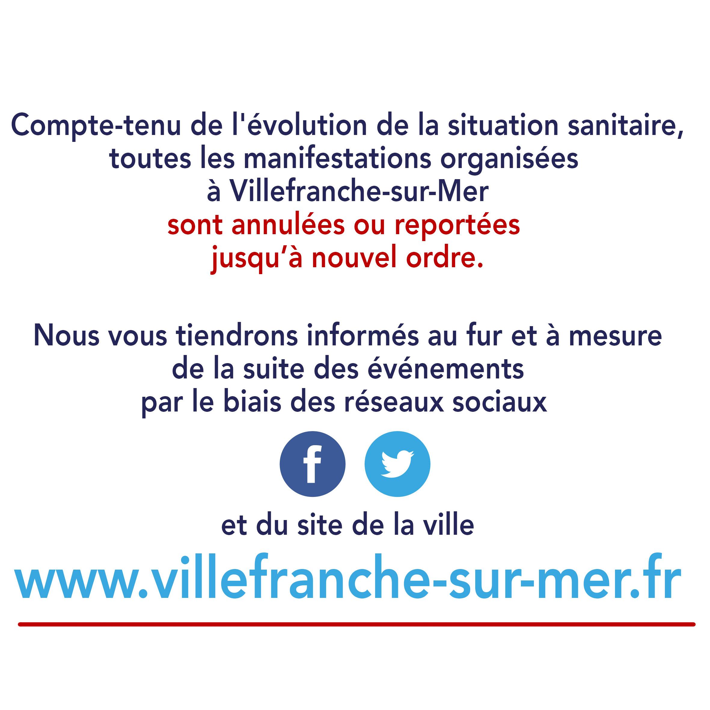 Annulation & Report de toutes les manifestations jusqu'à nouvel ordre