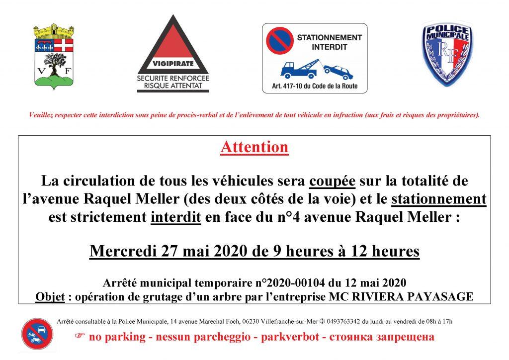 Interruption de la circulation pour l'Avenue Raquel Meller - Mercredi 27 mai de 9h à 12h