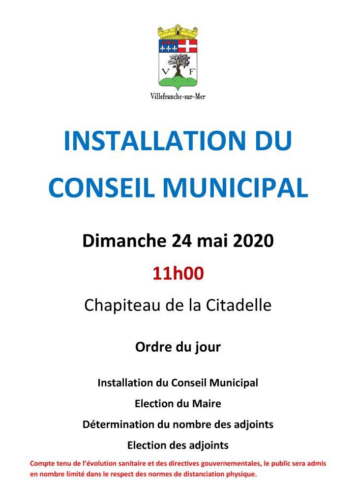 Installation du Conseil Municipal - Dimanche 24 Mai 2020 à 11h