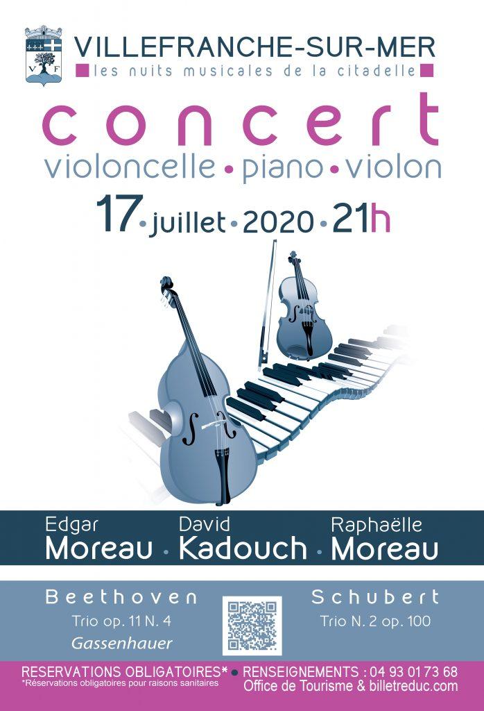 Concert - Les Nuits Musicales de la Citadelle : Trio Violoncelle - Piano - Violon