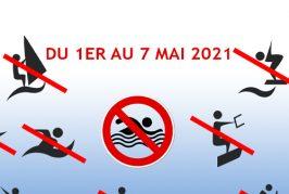 Du 1er au 7 mai 2021, la baignade, la pêche et les activités nautiques, sont temporairement interdites, dans la ZIEM permanente des Marinières.